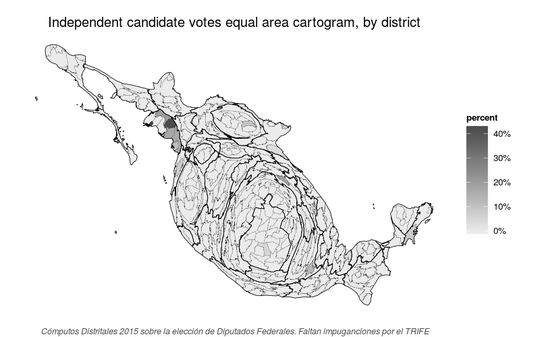 Equal area cartogram of Independent votes